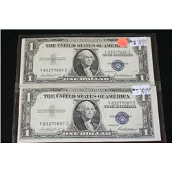 1935-F US Silver Certificate $1, Blue Seal, #Y83277686I & 1935-F US Silver Certificate $1, Blue Seal