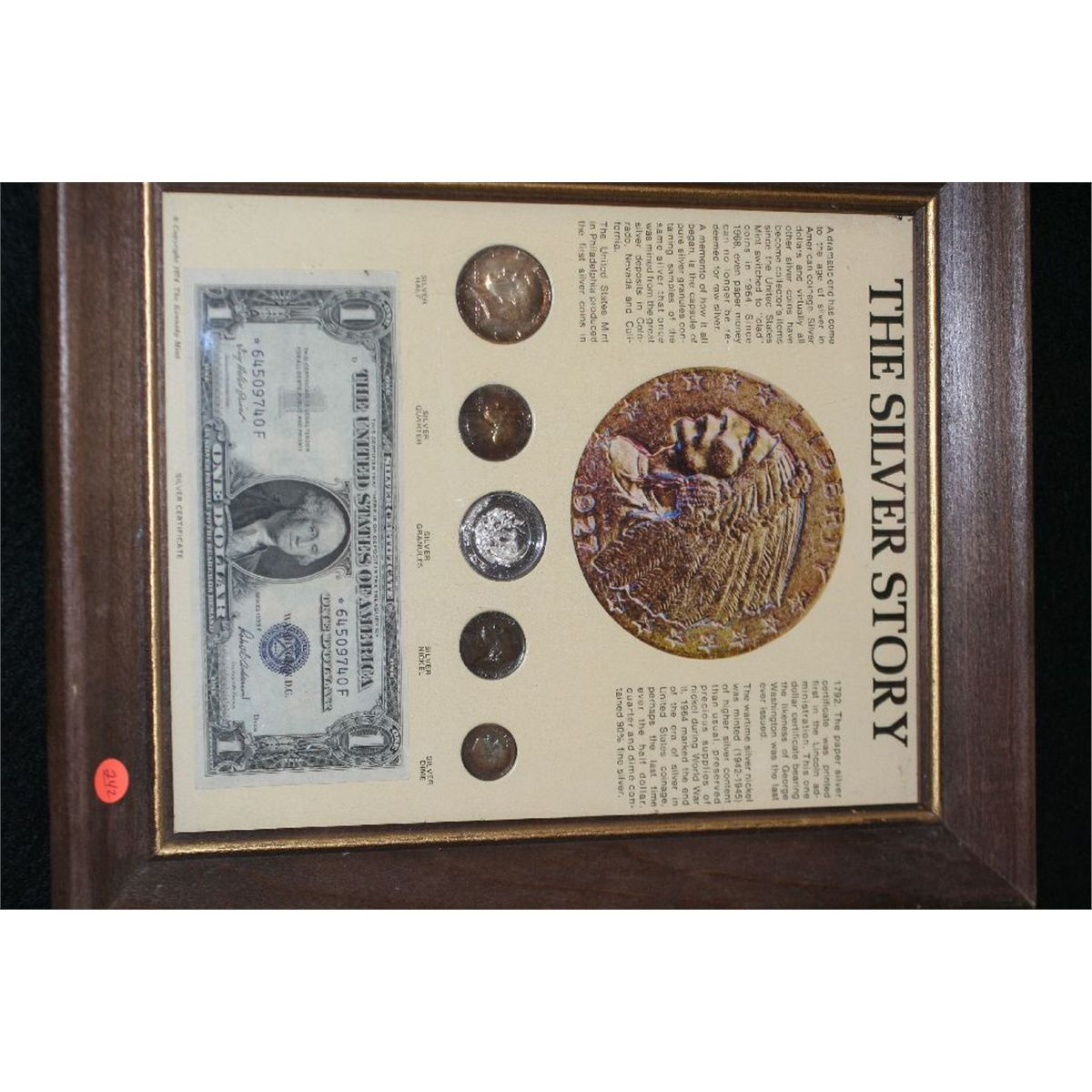 Framed The Silver Story Coinage W 1935 F Us Silver Certificate 1