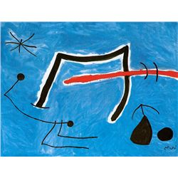Personages, Birds, Star - Miro - Limited Edition on Canvas