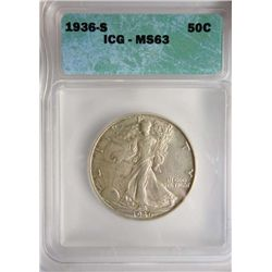 1936-S WALKING LIBERTY HALF DOLLAR ICG MS63