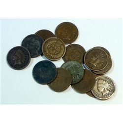 100 mixed full date Indian head cents, approx 1/4 pre 1900.