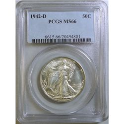 1942-D WALKING LIBERTY HALF DOLLAR PCGS MS-66