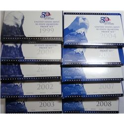 1999 thru 2008 U.S. State Quarter Proof Sets, all in original mint packaging.