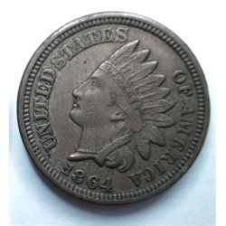 1864 CN Indian penny 4 diamond XF-45