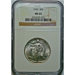 1943 WALKING LIBERTY HALF DOLLAR NGC MS-65 GEM