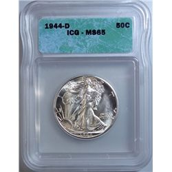 1944-D WALKING LIBERTY HALF DOLLAR ICG MS-65 GEM