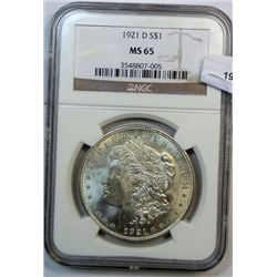 1921-D MORGAN DOLLAR NGC MS65 GEM