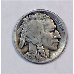 1919D Buffalo nickel  over half horn FINE   GS bid = $58