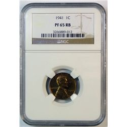 1941 proof Lincoln penny NGC65R/B