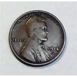 1914D Fine   Lincoln penny   nice color