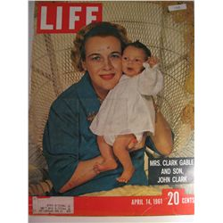April 1961 Vintage Life Magazine; Cover: Mrs. Clark Gable and Son, John Clark