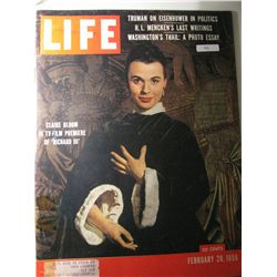 "Vintage February 1956 Life Magazine; Cover: Clair Bloom in TV-Film Premier of ""Richard III"""