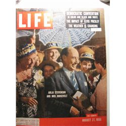 August 1957 Life Magazine; Adlai Stevenson and Mrs. Roosevelt; Democratic Convention