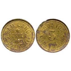CO - Denver & Cripple Creek,c1904 - Sam Lang Token