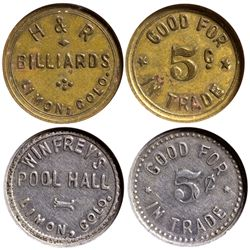 CO - Limon,Lincoln County - c1910, c1900-1920. - Pool Hall Tokens