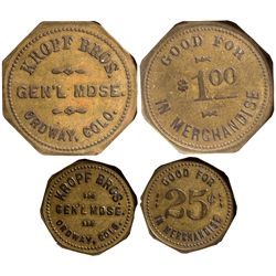 CO - Ordway,Crowley County - c1905 - Kropf Bros Gen'l Mdse Tokens
