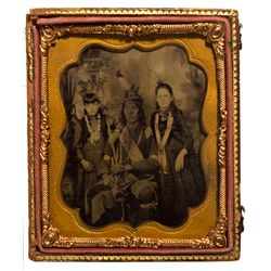 Dakota South - 1860 - Native American Man with Children Ferrotype in an Ambrotype Frame