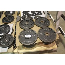 PALLET OF ASSORTED BARBELL WEIGHTS