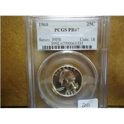 1960 WASHINGTON SILVER QUARTER PCGS PR67