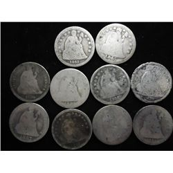 10 ASSORTED SEATED LIBERTY DIMES