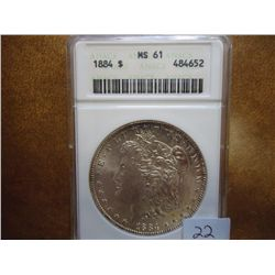 1884 MORGAN SILVER DOLLAR ANACS MS61