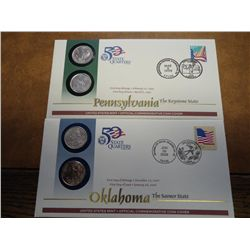 2 US MINT 50 STATE QUARTER FDC'S (OK, PA)
