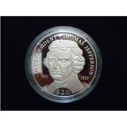 2000 LIBERIA SILVER $20 PROOF PRESIDENT JEFFERSON