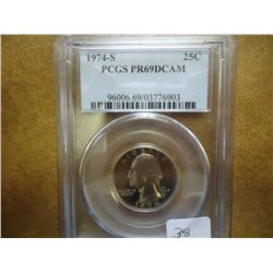 1974-S WASHINGTON QUARTER PCGS PR69 DCAM