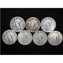7 NO DATE & PARTIAL DATE STANDING LIBERTY QUARTERS