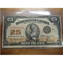 1923 DOMINION OF CANADA 25 CENT FRACTIONAL BILL