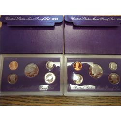 1990 & 92 US PROOF SETS (WITH BOXES)