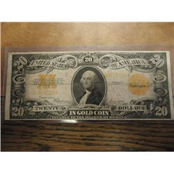 1922 LARGE SIZE $20 GOLD CERTIFICATE