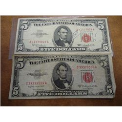 1953-B & 63 FIVE DOLLAR US NOTES RED SEAL