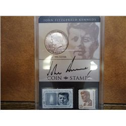 1964 KENNEDY HALF DOLLAR COIN AND STAMP SET (UNC)