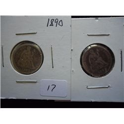 1890 & 91 SEATED LIBERTY DIMES