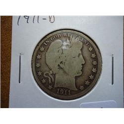 1911-D BARBER HALF DOLLAR (VERY GOOD)