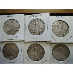 1941,42-S,43,44,44-S & 47-D WALKING LIBERTY HALFS