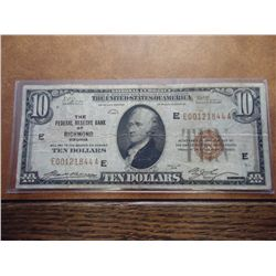 1929 $10 NATIONAL CURRENCY RICHMOND