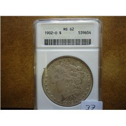 1902-O MORGAN SILVER DOLLAR ANACS MS62