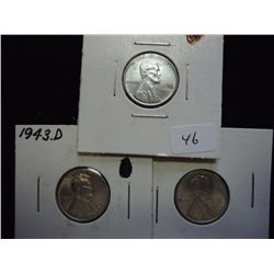 1943 P/D/S LINCOLN STEEL WAR CENTS (UNC)