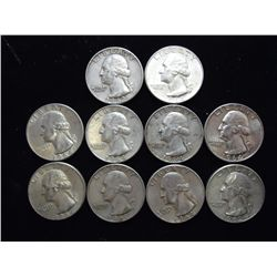 10 ASSORTED 1960'S WASHINGTON SILVER QUARTERS