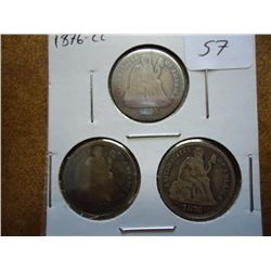3-1876-CC SEATED LIBERTY DIMES
