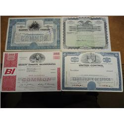 4 STOCK CERTIFICATES SEE DESCRIPTION