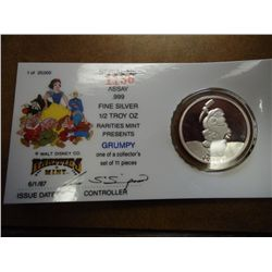 1/2 TROY OZ .999 FINE SILVER DISNEY PROOF COIN