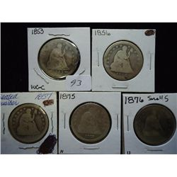 1853,56,57,75 & 76-S SEATED LIBERTY QUARTERS