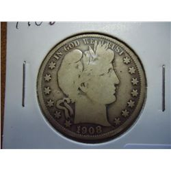 1908 BARBER HALF DOLLAR (VERY GOOD)