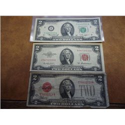 1928-D,53-A & 76 TWO DOLLAR NOTE ASSORTMENT