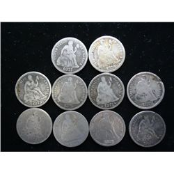10 ASSORTED SEATED LIBERTY DIMES ALL 1870'S