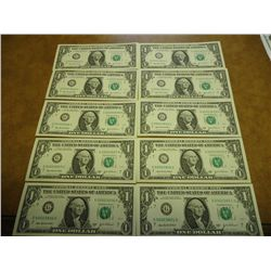 10 SEQUENTIAL LOW SERIAL NUMBER 2003-A $1 FRN'S