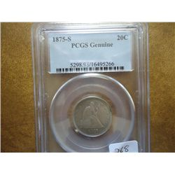 1875-S TWENTY CENT PIECE PCGS GENUINE